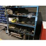 (LOT) CABINETS AND SHELVES WITH CONTENTS INCLUDING HARDWARE, PERISHABLE TOOLING, MACHINE PARTS,