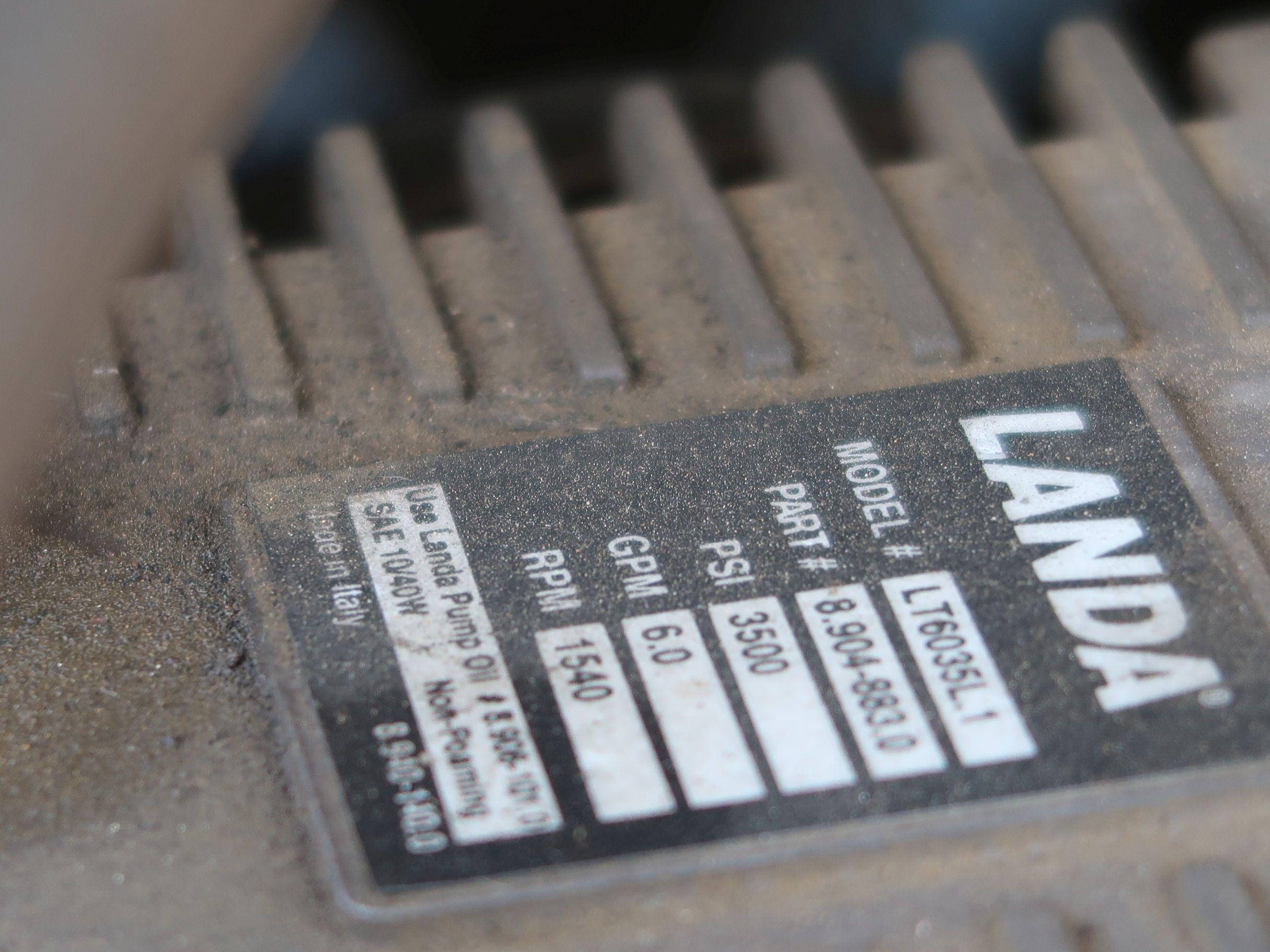 Lot 1002 - 3,500 PSI LANDA MODEL SDHW6-3500E DIESEL POWERED SKID MOUNTED POWER WASHER; S/N P0206-118436,