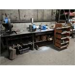 "144"" X 60"" STEEL TABLE WITH 8"" CUT OFF SAW, DE GRINDER, 6"" BENCH VISE, HARDWARE, TURN BUCKLES"