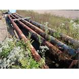 (LOT) (4) STEEL UTILITY TOWERS, RUBBER TRACKS, STEEL PANS, WITH PINS, RAIL