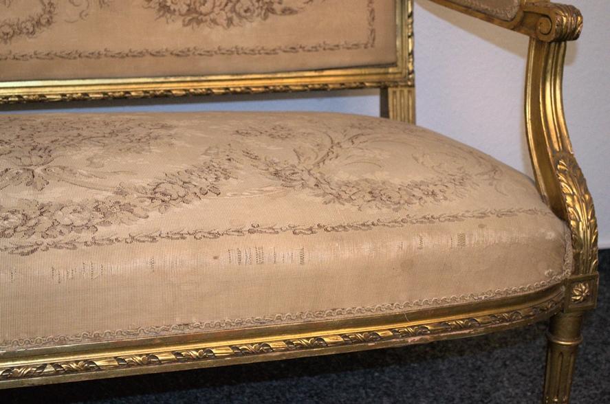 Prachtvolles Kanapee, Louis XVI-Stil, Frankreich um 1890. Zweisitzige, gepolsterte Sitzbank, - Bild 6 aus 12