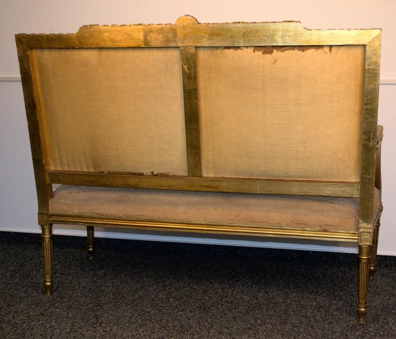 Prachtvolles Kanapee, Louis XVI-Stil, Frankreich um 1890. Zweisitzige, gepolsterte Sitzbank, - Bild 12 aus 12