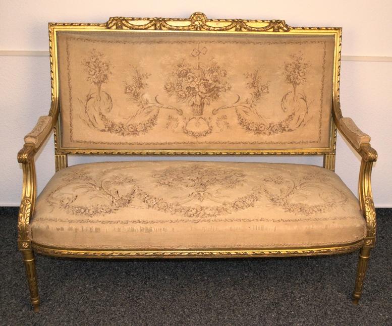 Prachtvolles Kanapee, Louis XVI-Stil, Frankreich um 1890. Zweisitzige, gepolsterte Sitzbank, - Bild 2 aus 12