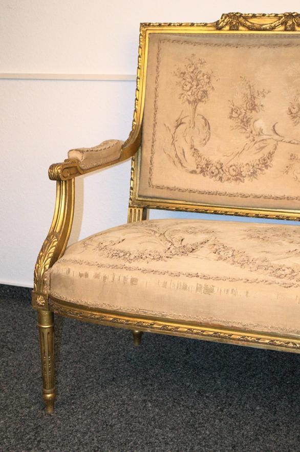 Prachtvolles Kanapee, Louis XVI-Stil, Frankreich um 1890. Zweisitzige, gepolsterte Sitzbank, - Bild 3 aus 12
