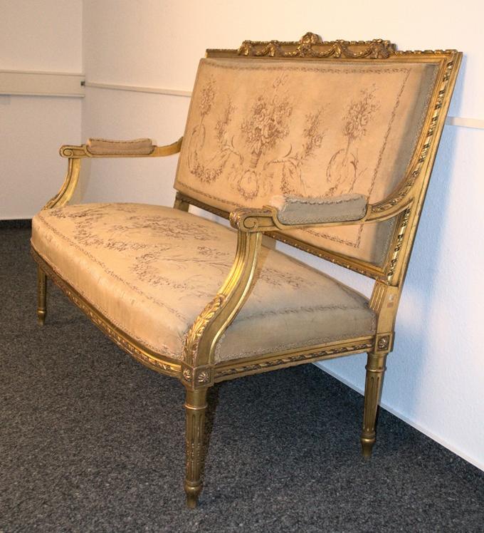 Prachtvolles Kanapee, Louis XVI-Stil, Frankreich um 1890. Zweisitzige, gepolsterte Sitzbank, - Bild 10 aus 12