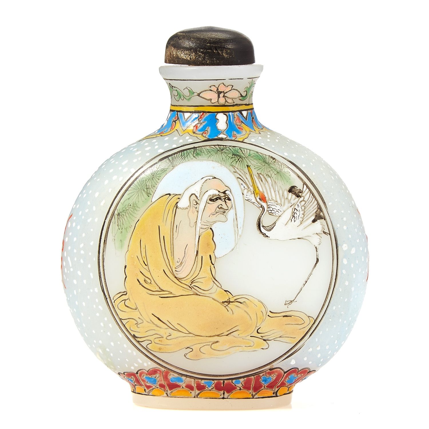 Los 48 - A VINTAGE CHINESE PAINTED GLASS SNUFF BOTTLE with scenes depicting elderly gentleman and animals,