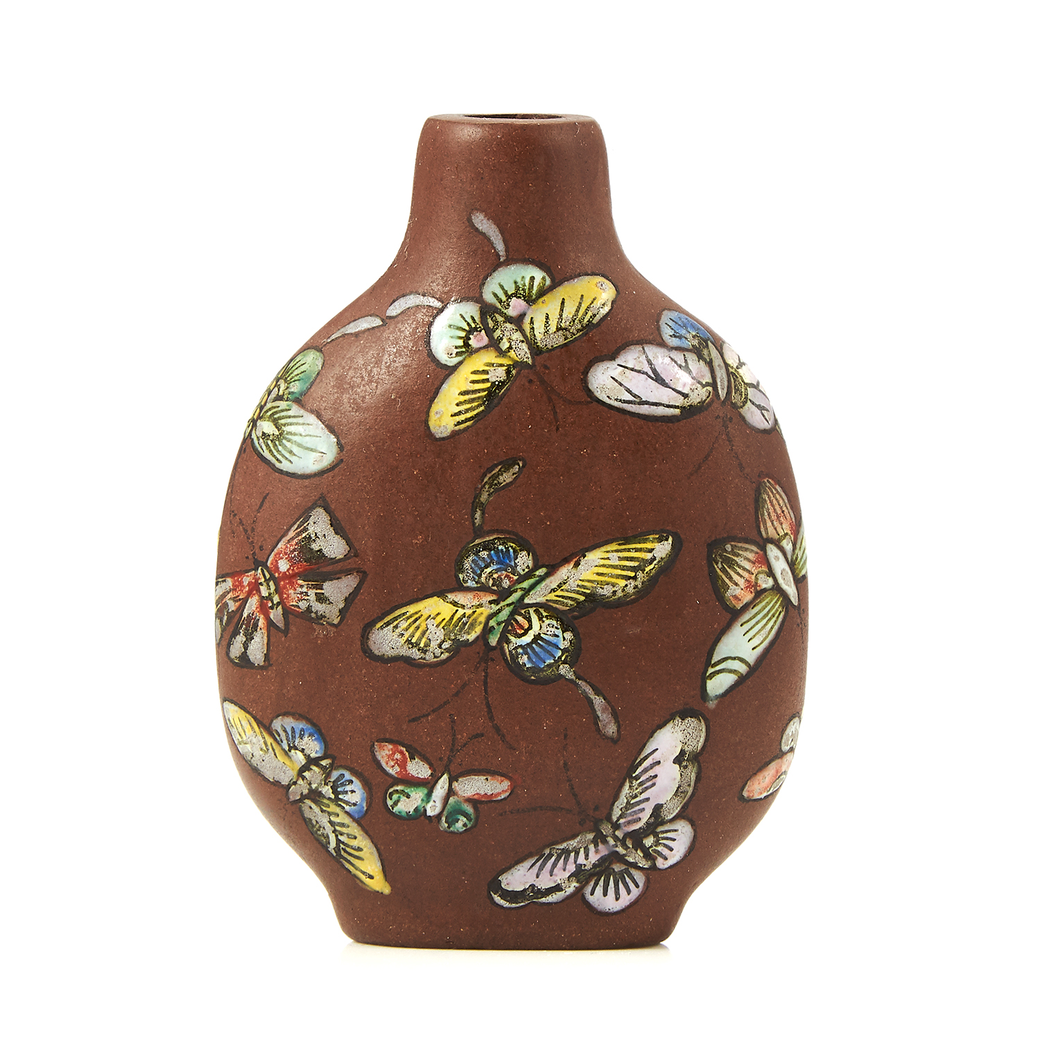 Los 54 - A CHINESE STONEWARE SNUFF BOTTLE decorated with butterflies, 6.4cm.
