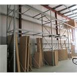 3 SECTIONS OF PALLET RACKING W/ (4) 18' UPRIGHTS, (19) 11' SECTIONS & MATERIAL STORAGE BAR DIVIDERS
