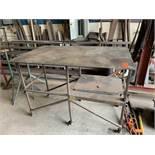 "Rolling Steel Table: 5'long x 3'wide x 9""tall"