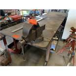 """Steel Heavy Duty rolling table with under shelf, 10'L x 2'10""""W x 3""""T"""
