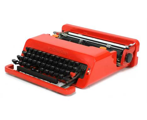 A Valentine typewriter,designed by Ettore Sottsass for Olivetti, 1969, with red carrying case,33cm wide34cm deep10cm highCond