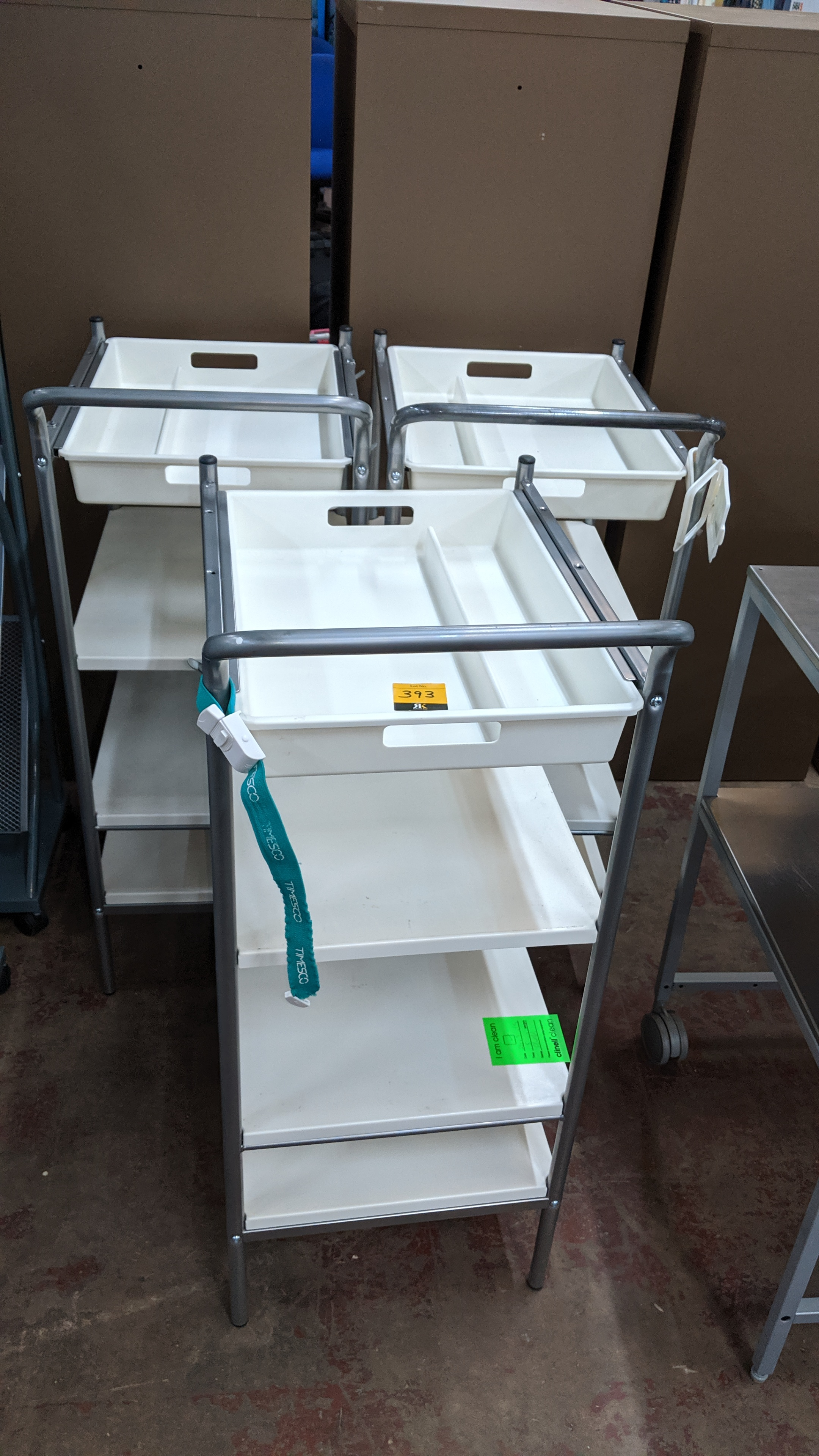 Lot 393 - 3 off medical trolleys. This is one of a large number of lots used/owned by One To One (North