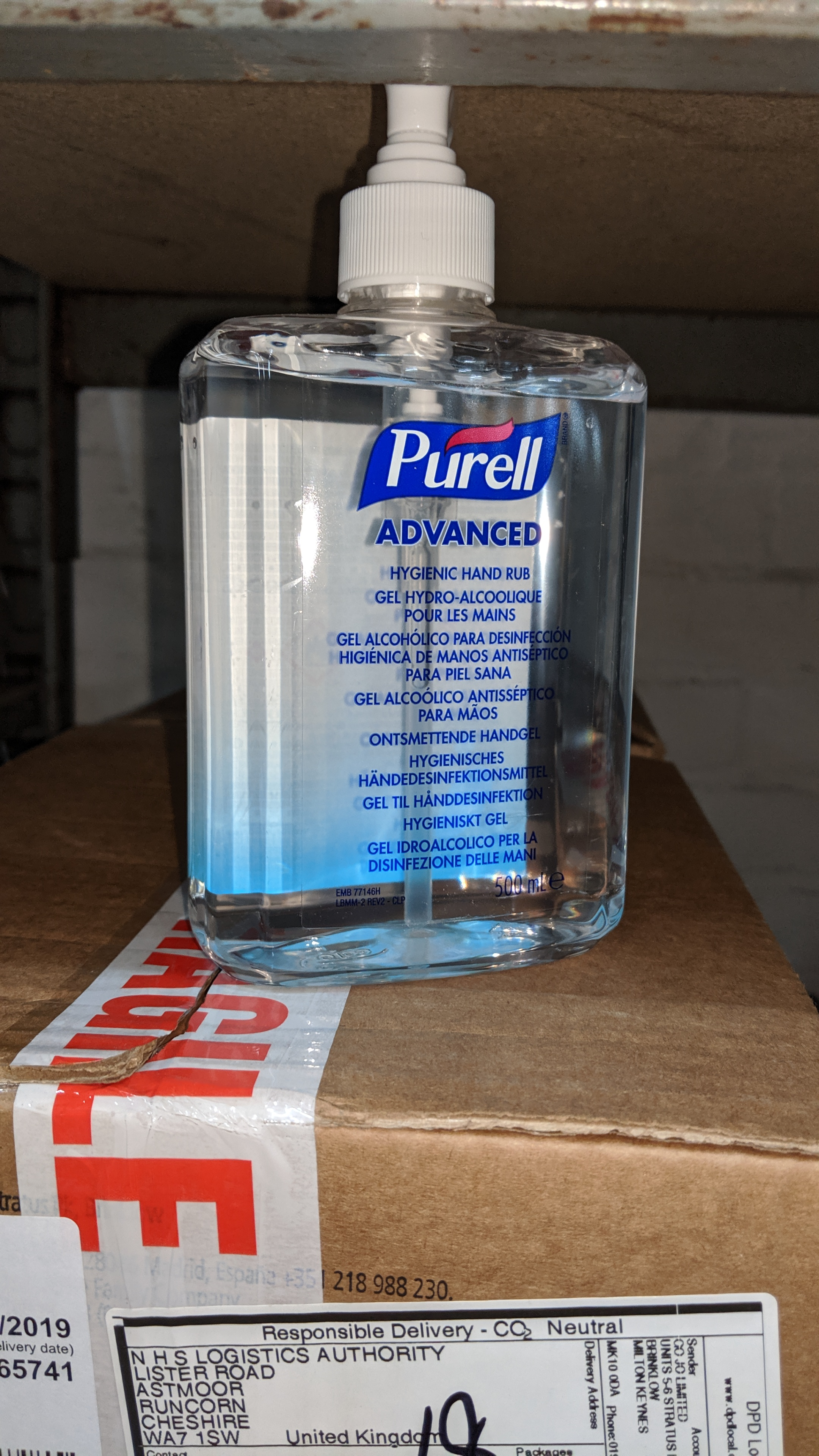 Lot 539 - 4 boxes containing a total of 48 off 500ml bottles of Purell Advanced Hygenic Hand Rub. This is