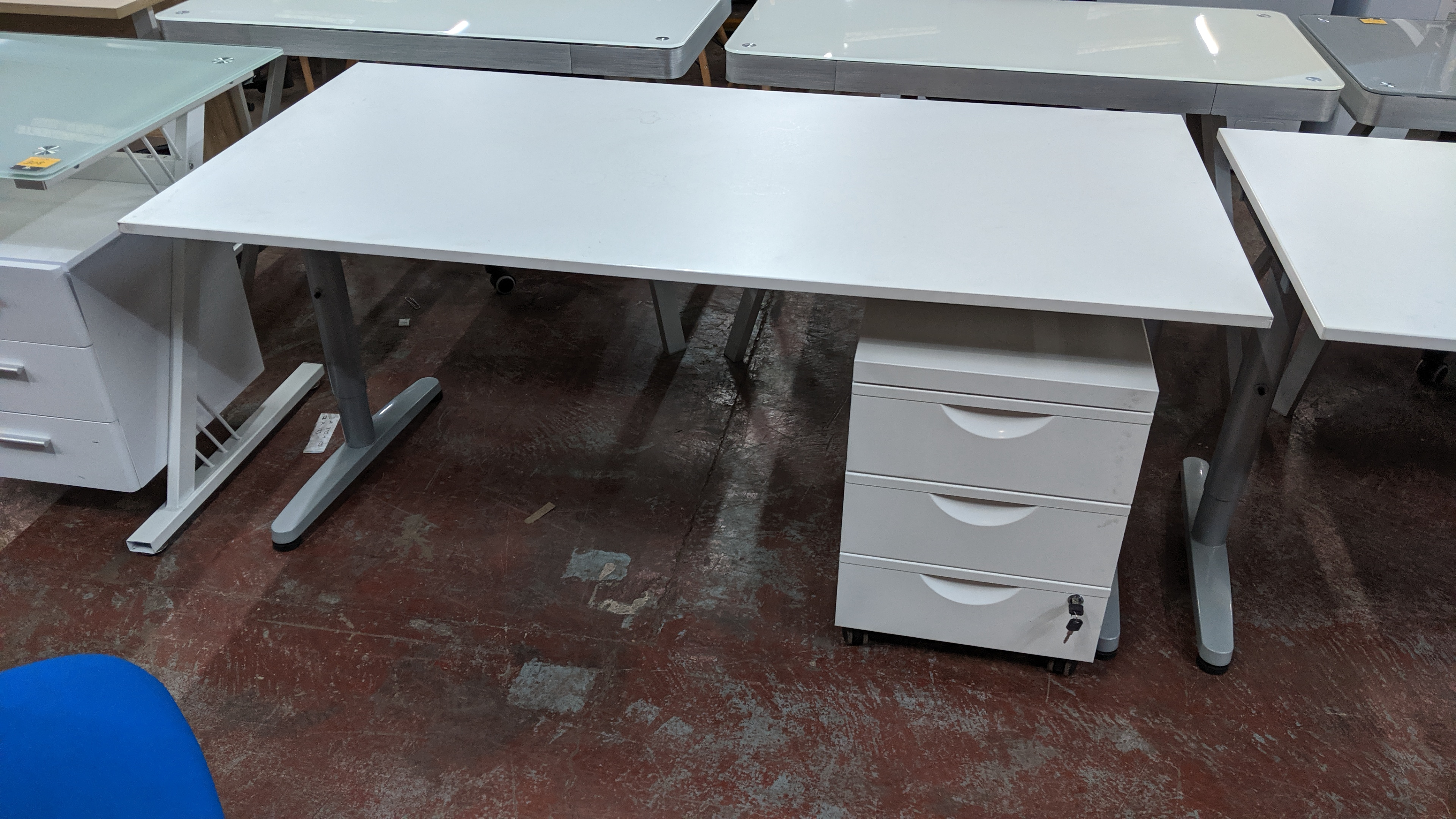 Lot 303 - 2 off matching large white tables/desks, 160 x 80cm, each with matching mobile pedestal & extendable