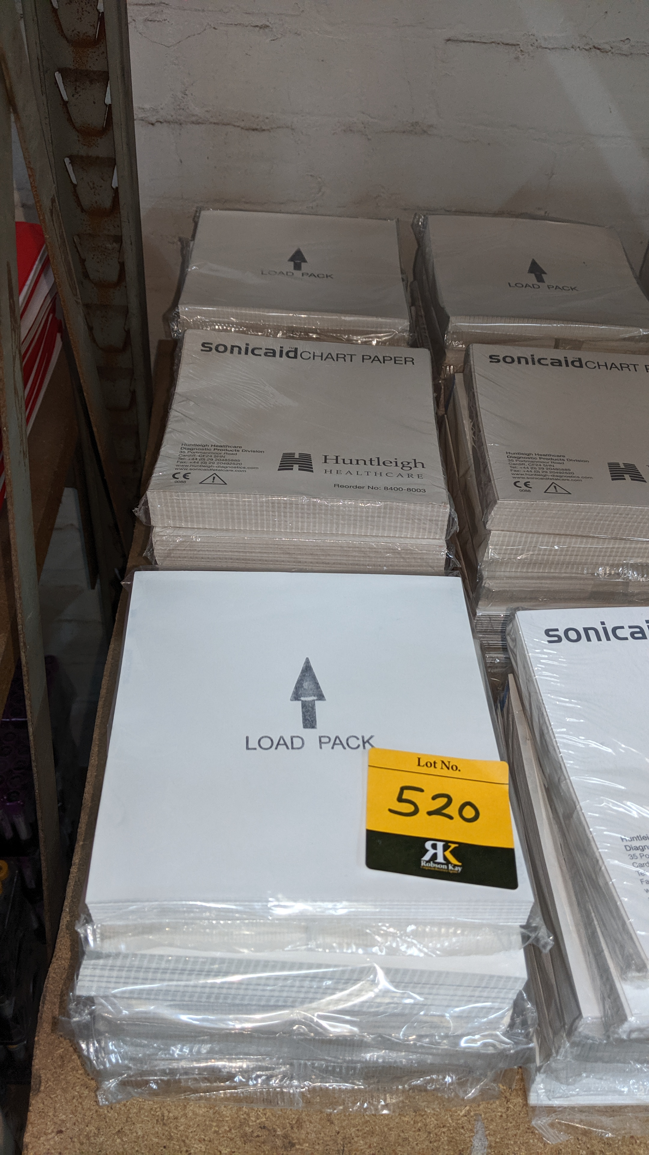 Lot 520 - Row of Sonicaid chart paper. This is one of a large number of lots used/owned by One To One (North