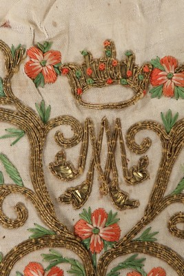 An embroidered love token purse, English, late 18th century, worked with couched gold threads, - Image 4 of 8