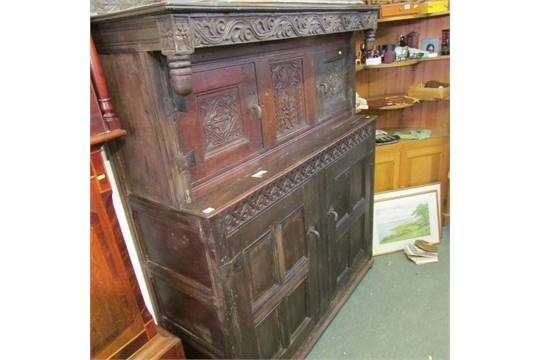 Auction date: - ANTIQUE COURT CUPBOARD, Carved Oak Panelled Twin Door Court Cupboard
