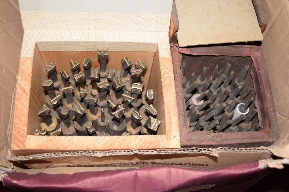 Lot 33 - *Handle Letters. Seven sets of brass bookbinding handle letters, with wooden handles, each with