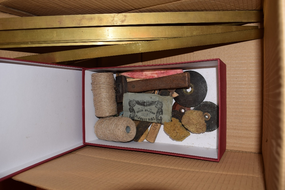 Lot 15 - *Gold foil & bookbinding hand tools. Four rolls of Whiley Genuine Gold foil, including 1 inch, 2