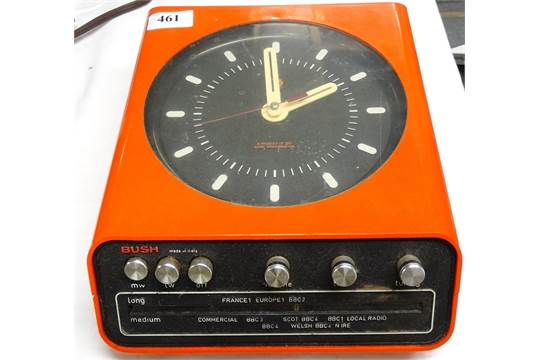 Bush Rank orange wall mounted clock radio