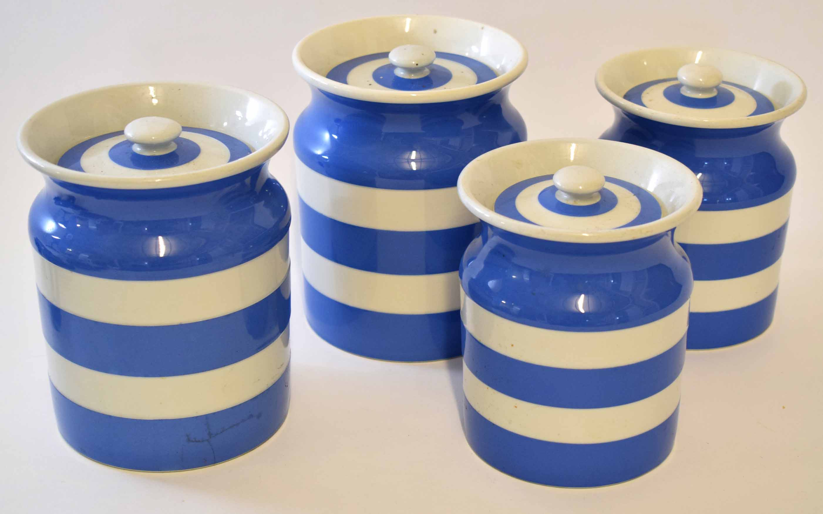 Lot 215 - Group of T G Green Cornish kitchen ware jars and covers with a blue circular design