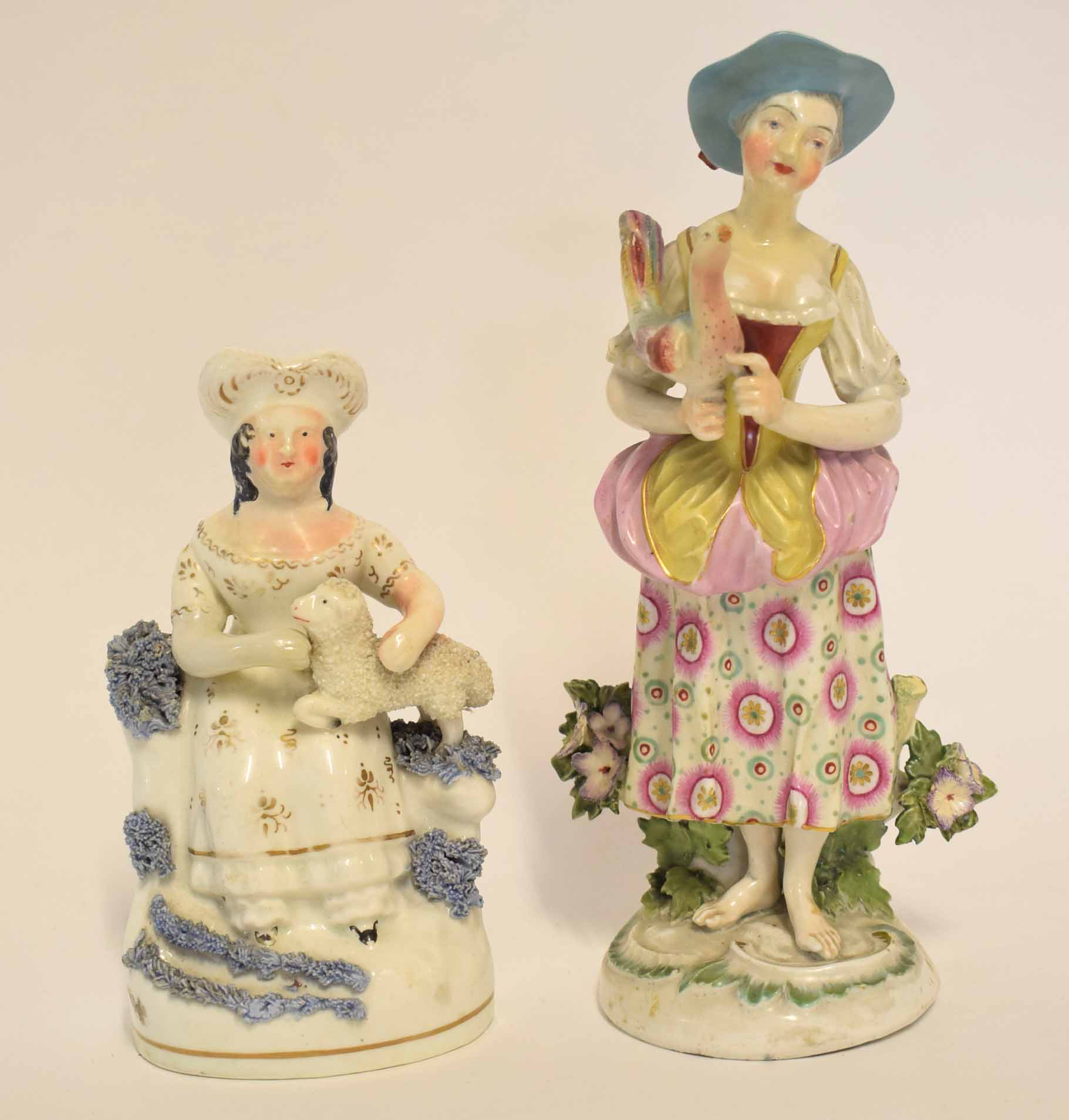 Lot 104 - Staffordshire porcelain figurine of a lady with a poodle together with a Derby porcelain group of