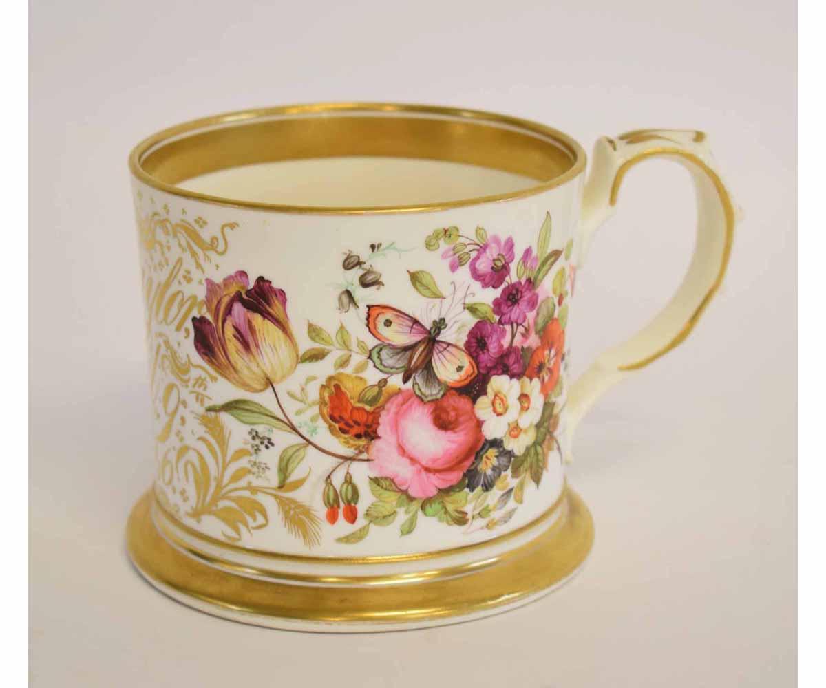 "Lot 98 - Large Victorian mug with floral sprays inscribed ""Taylor, April 1846"""