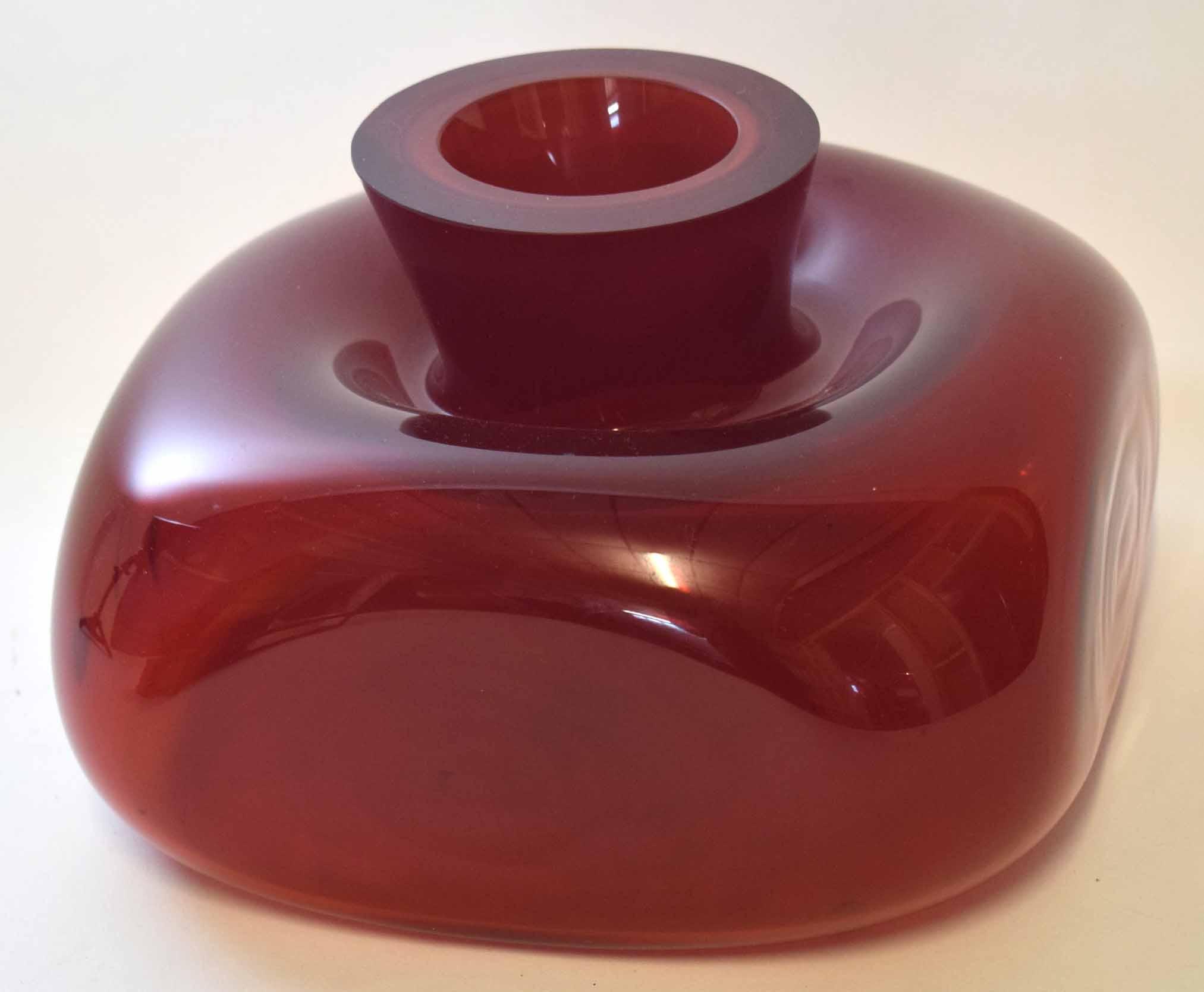 Lot 64 - Squat Murano glass vase, 28cm diam