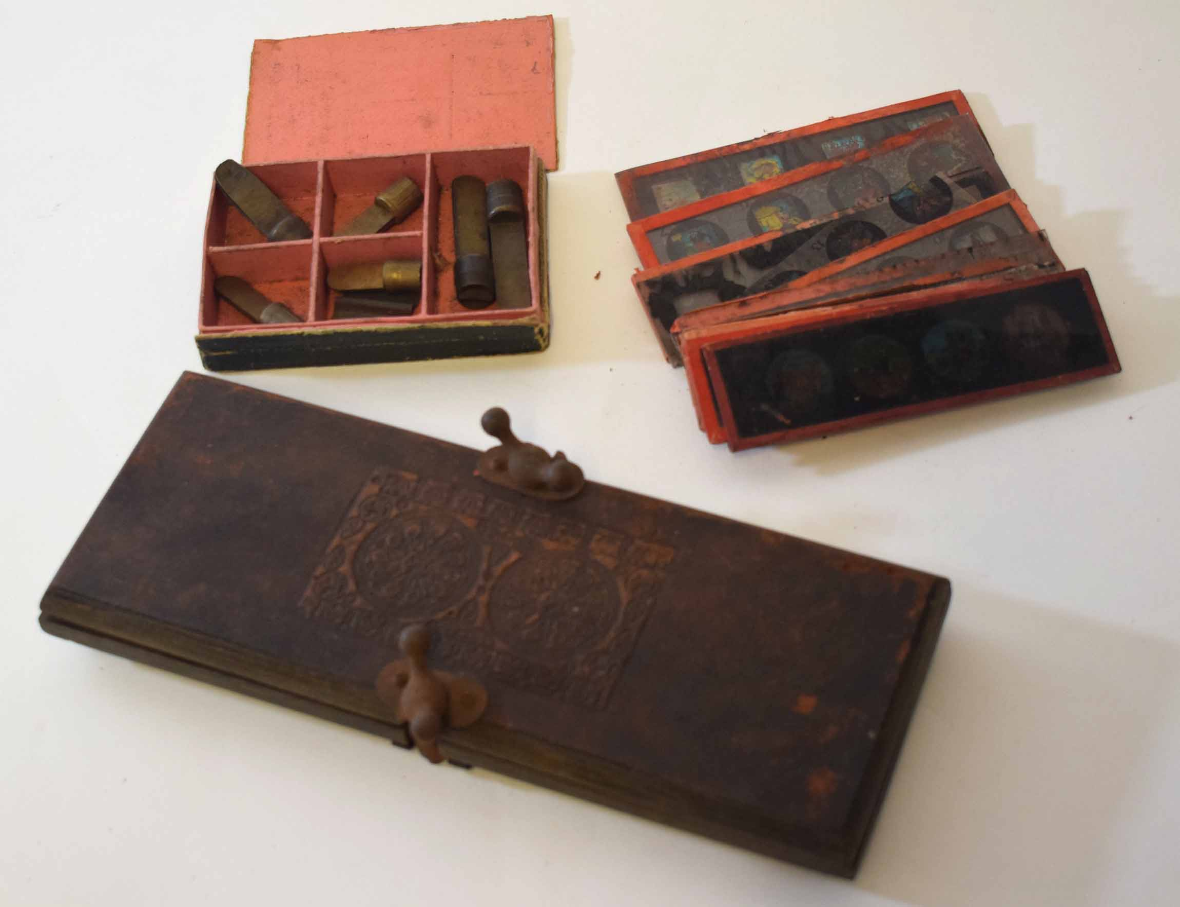 Lot 306 - Mixed Lot: tie-press, together with a quantity of glass magic lantern slides and a further box