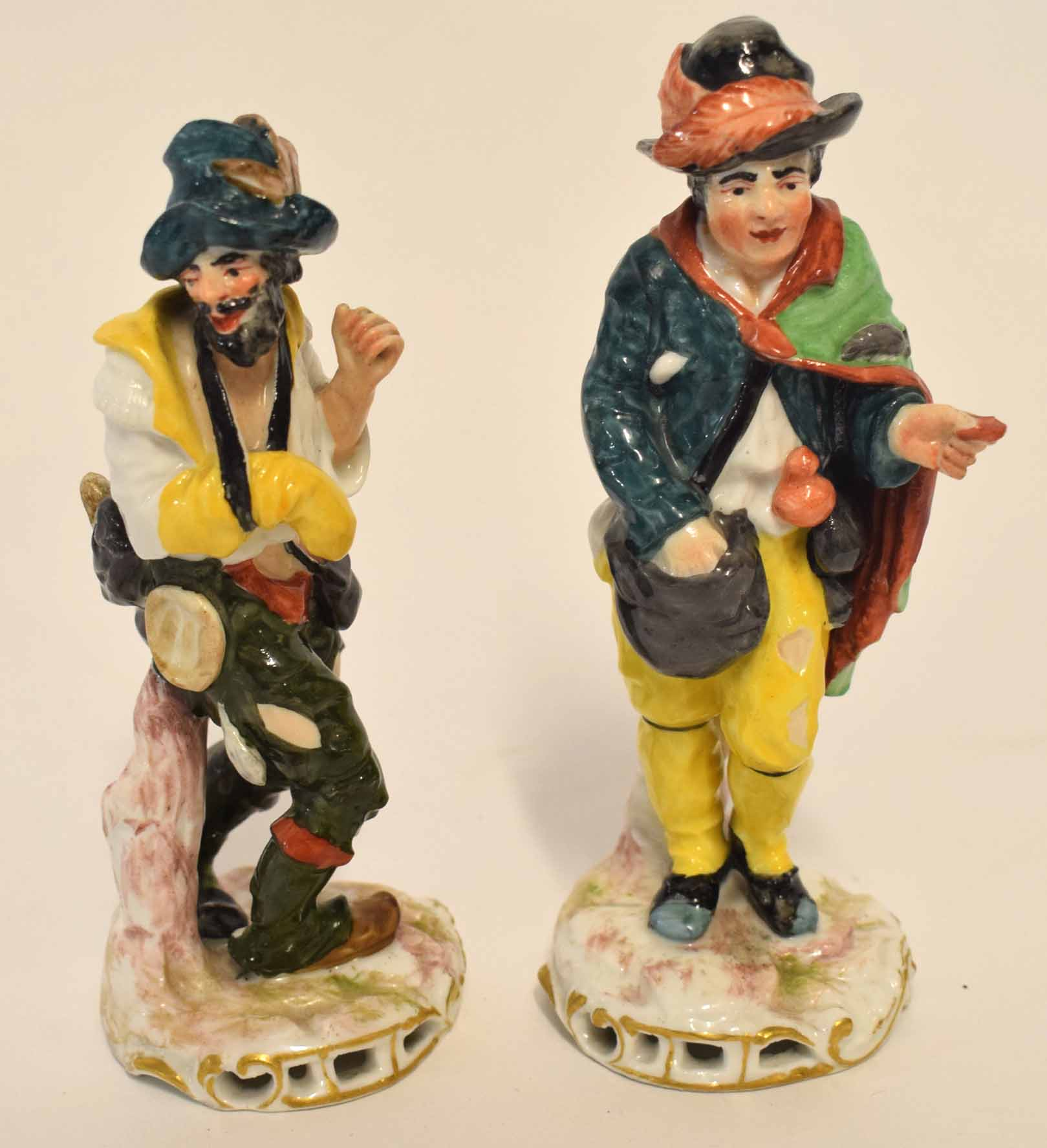 Lot 99 - Group of two Continental porcelain figurines, after Meissen, possibly Sitzendorf, one modelled as