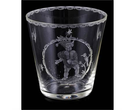 MICHAEL POWOLNY (1871-1854) FOR J & L LOBMEYR, VIENNA SECESSIONIST ENGRAVED GLASS TUMBLER, CIRCAof tapered form, engraved