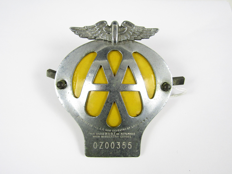 Lot 20 - A vintage AA car badge