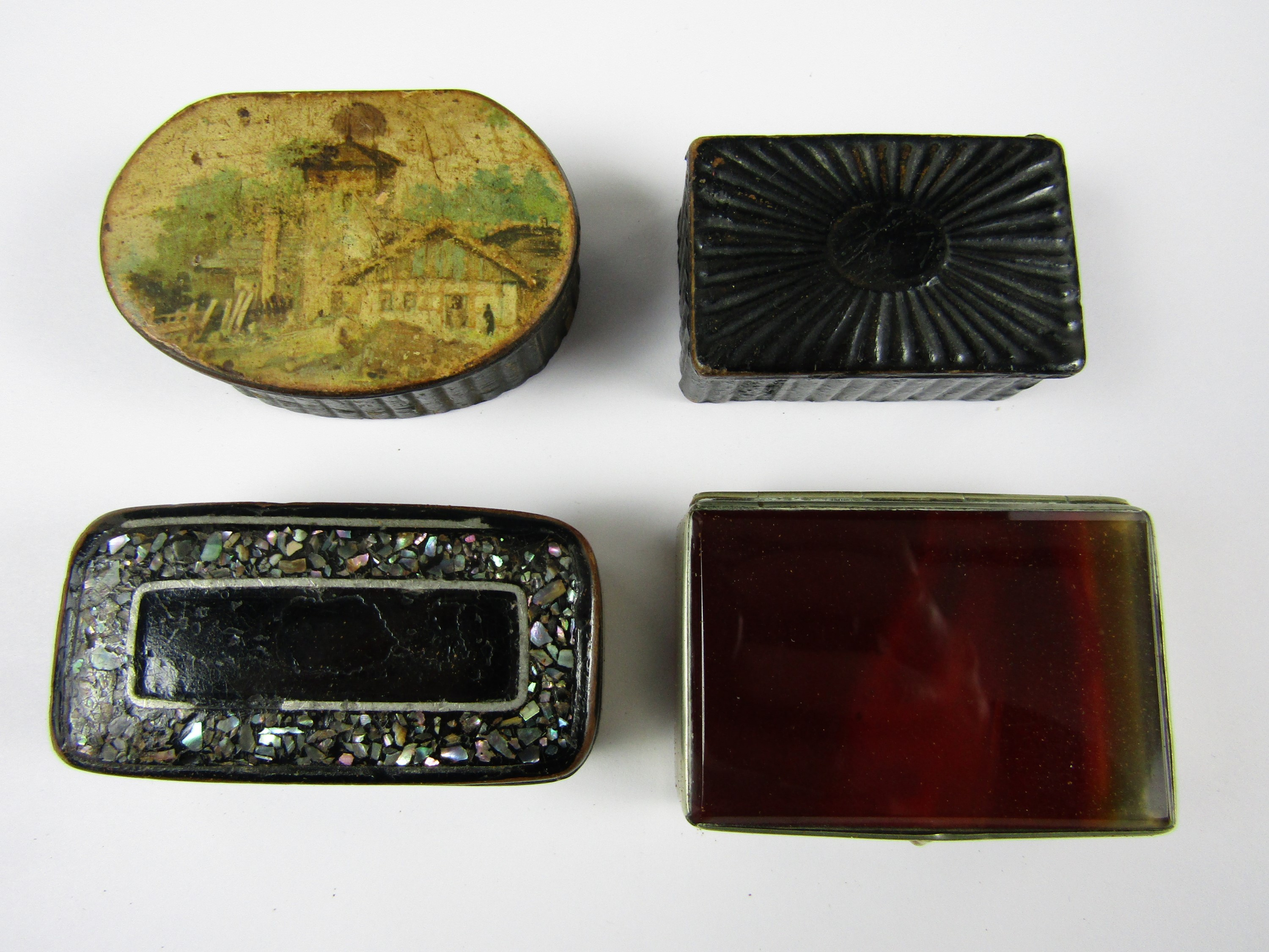 Lot 48 - Three Victorian snuff boxes together with one other