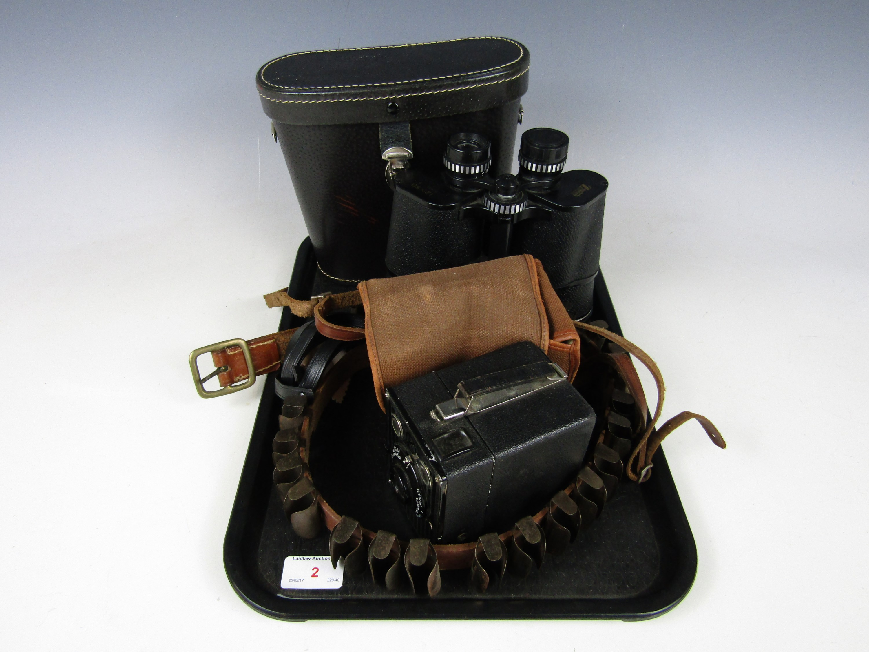 Lot 2 - A cased pair of Zenith Special binoculars, together with a cased Kodak Brownie camera and manual,