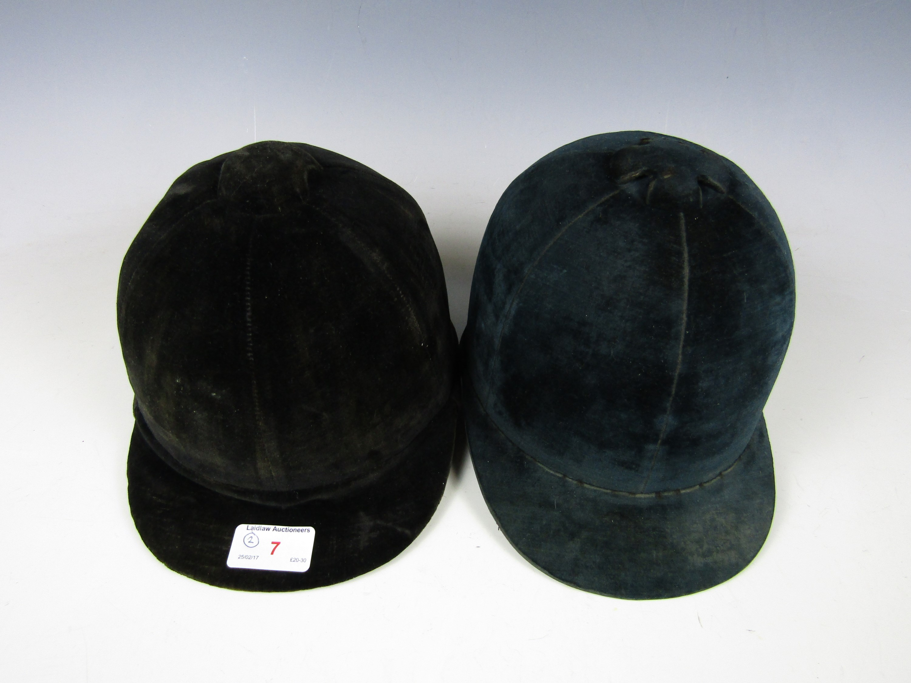 Lot 7 - Two early 20th century riding hats (sold as collectors' items)