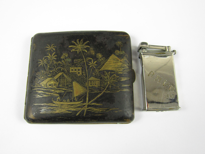 Lot 47 - A Tripoli lighter engraved R.M.V.P 1947 together with an Egyptian Japanned cigarette case