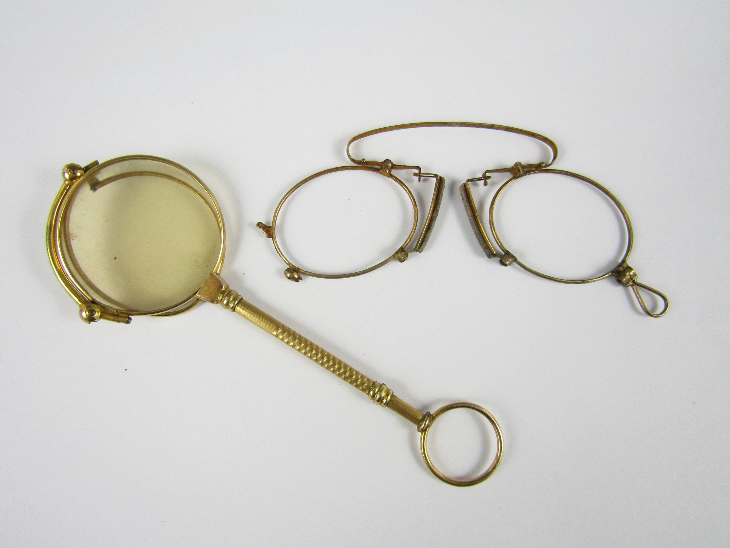 Lot 13 - A pair of pince-nez frames together with a lorgnette (a/f)
