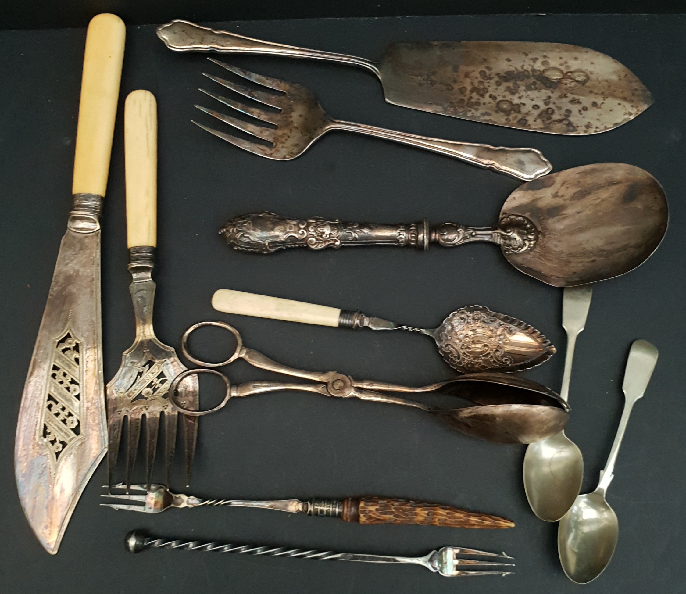Antique Parcel Flatware Some With Silver Collars