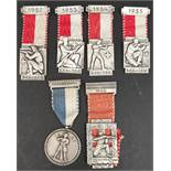 Vintage 6 Swiss Shooting Medals 1950's