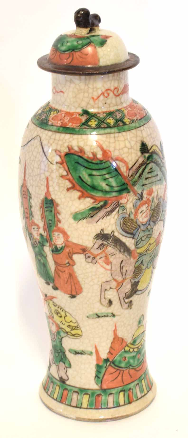 Lot 23 - Chinese porcelain crackle ware vase and cover, the tapered body with polychrome decoration of
