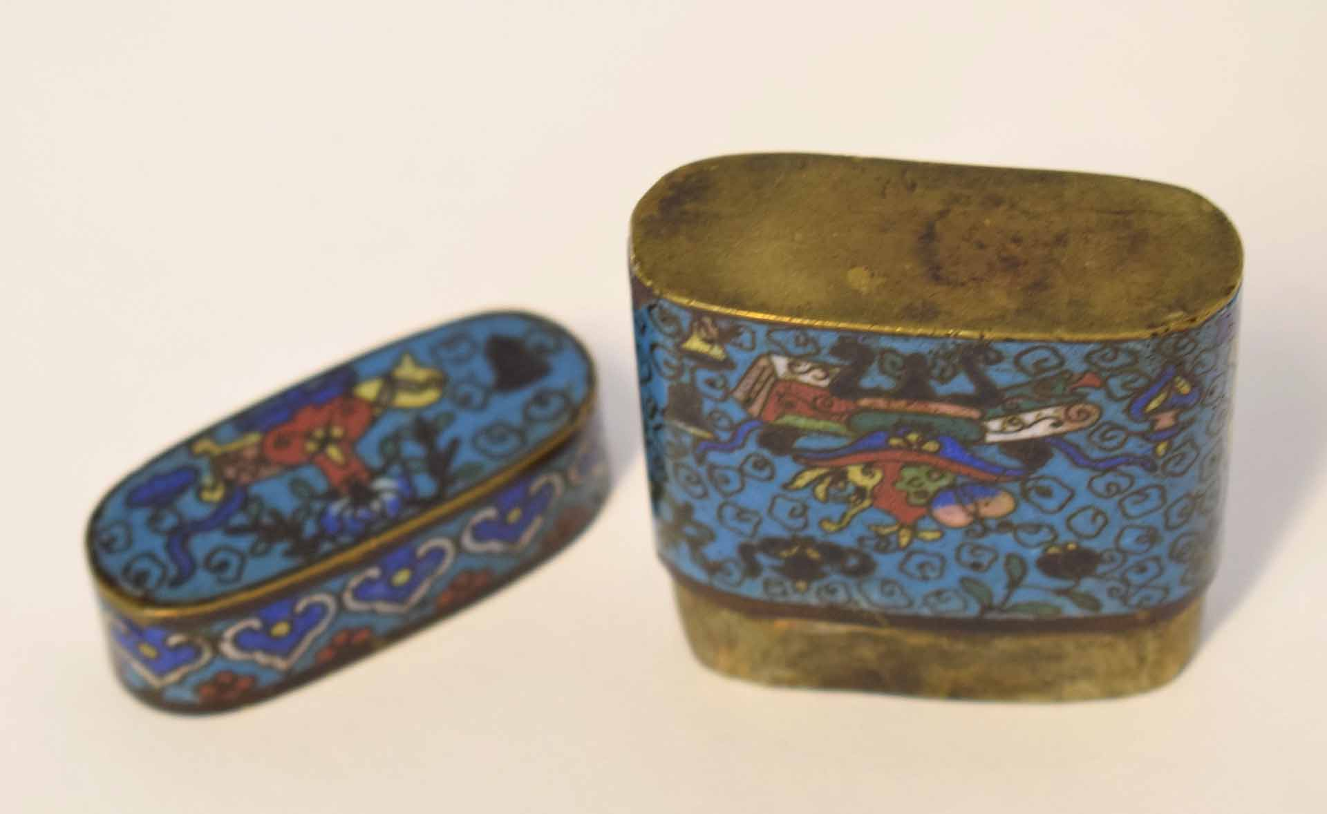Lot 19 - Group of cloisonne wares including a pair of vases, a pot and a cover, plus two further pots (5)