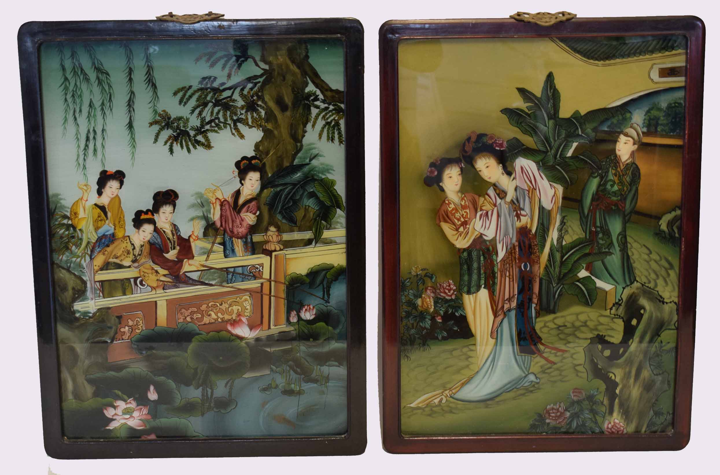 Lot 40A - Pair of Oriental watercolours of ladies in a garden setting, within wooden frames, 58cm high