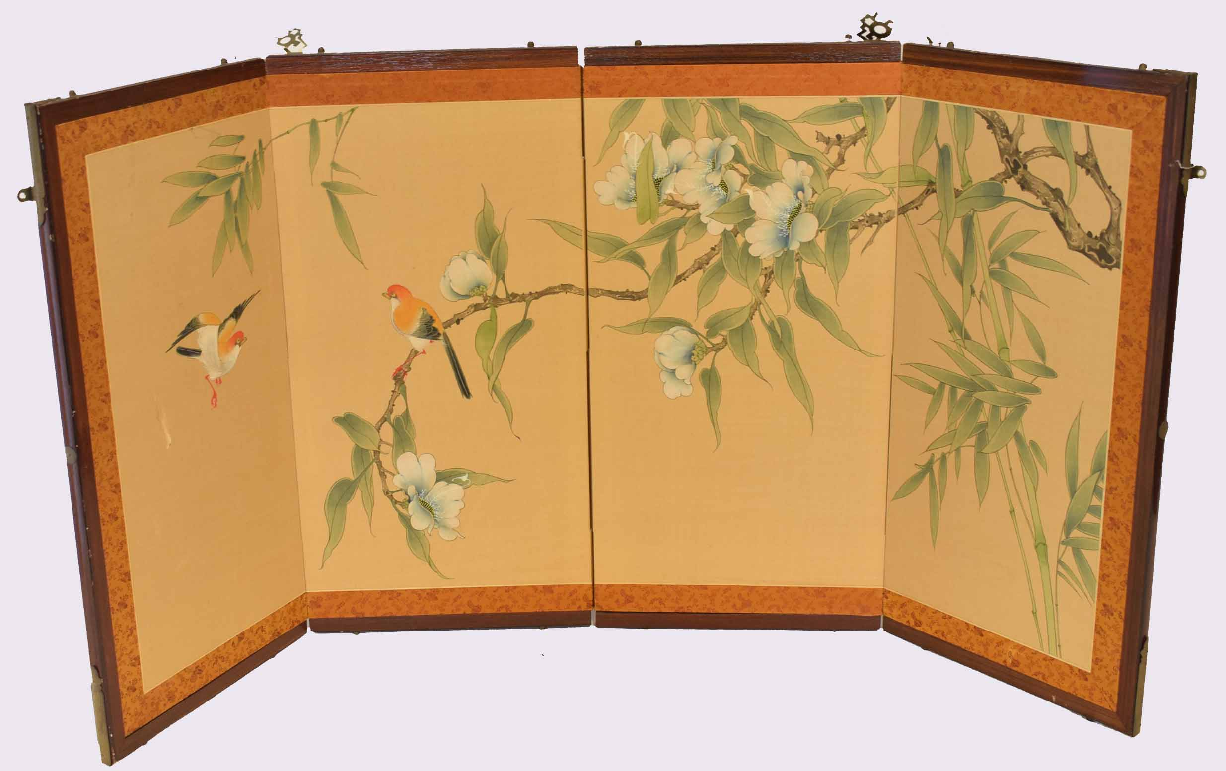 Lot 40 - Small Oriental four-section screen in wooden frame with watercolour decoration of birds in branches,