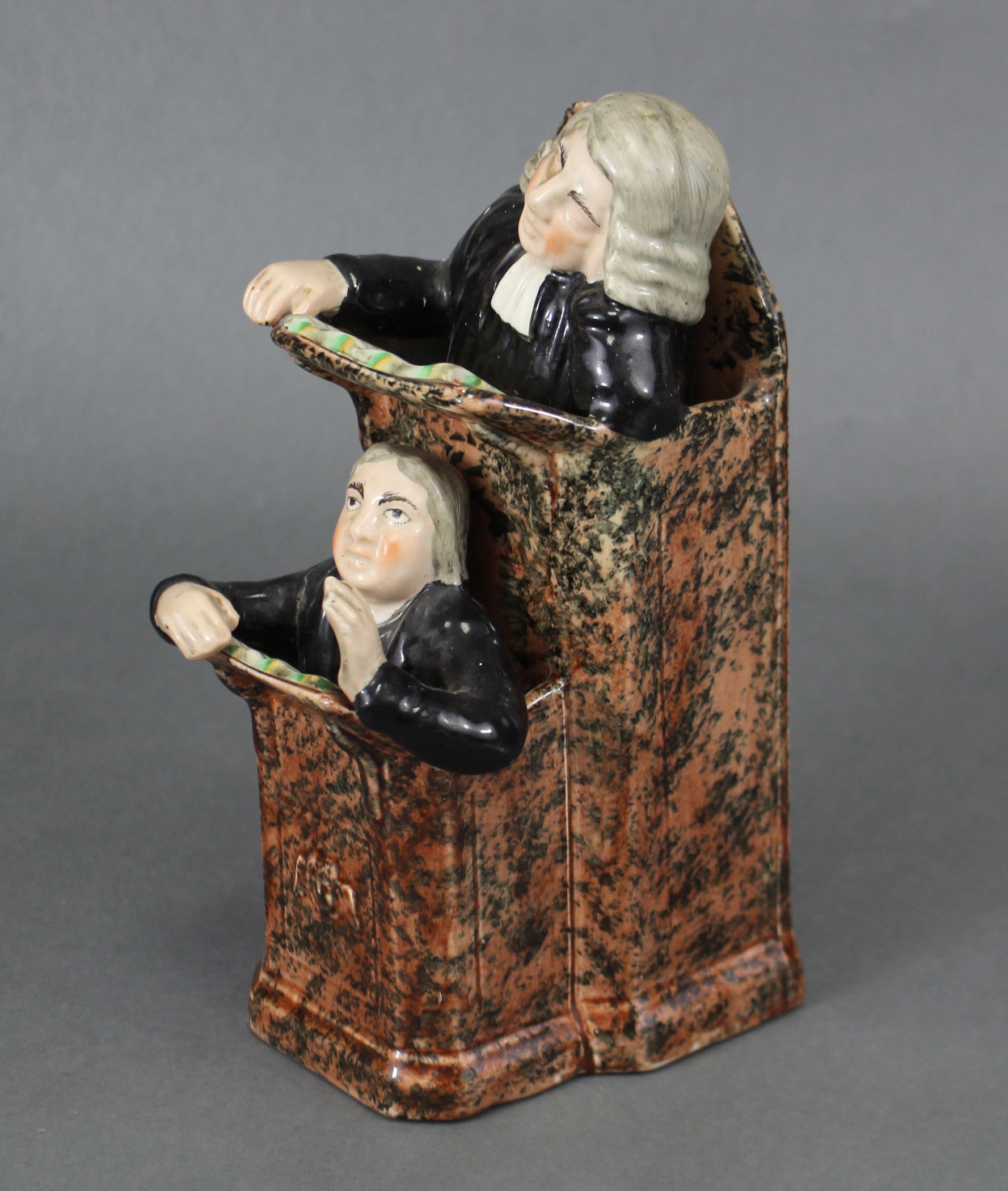 An early 19th century Staffordshire creamware pulpit group of 'The Vicar & Moses', the pulpit with - Image 2 of 3