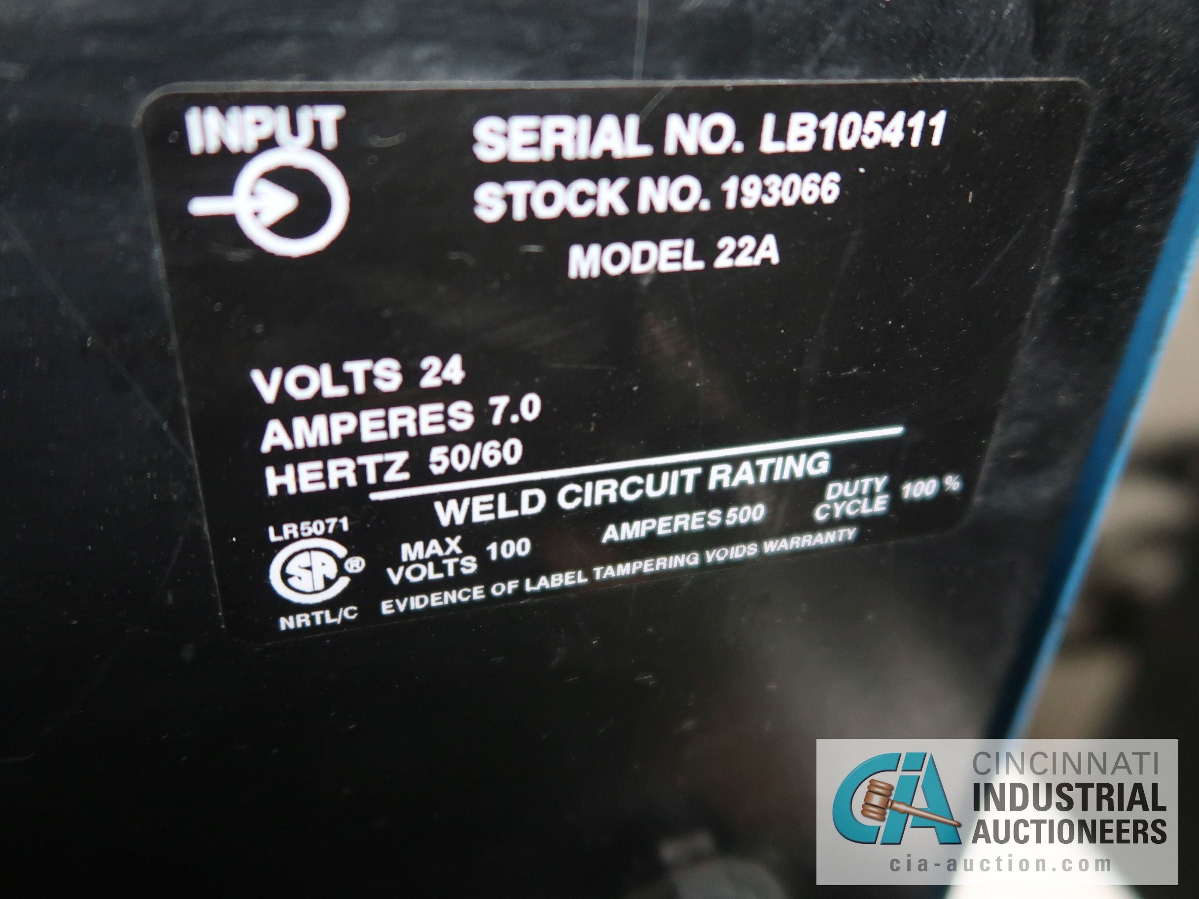 450 AMP MILLER DELTAWELD 452 MIG WELDER WITH MILLER 22A WIRE FEED; S/N LB106141 - Image 4 of 4