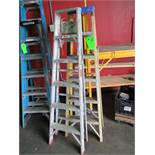 LOT OF 2 Folding ladder, 1- 6 ft fiberglass and 1- 6ft alum. ***Auctioneer Note*** -- $15
