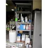 LOT OF 2 shelf unit with chemical content, metal shelf 36 in x 18 in d x 8 ft hgt, plastic 36 in w x