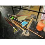 LOT OF 10, shovel, floor brush, spade shovel, dust pan, broom, push broom, rake ***Auctioneer