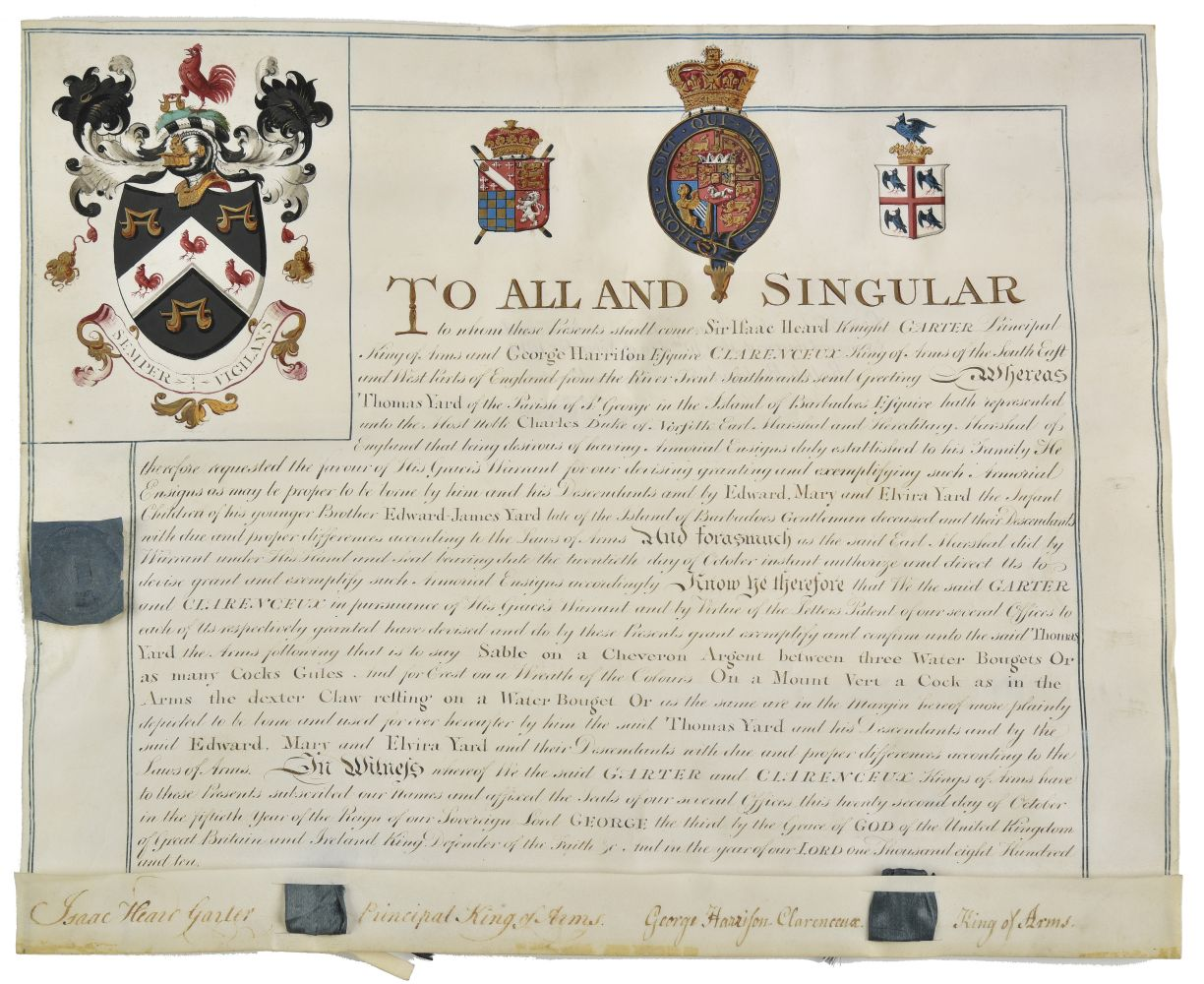 * Barbados. Grant of arms to Thomas Yard, 1810