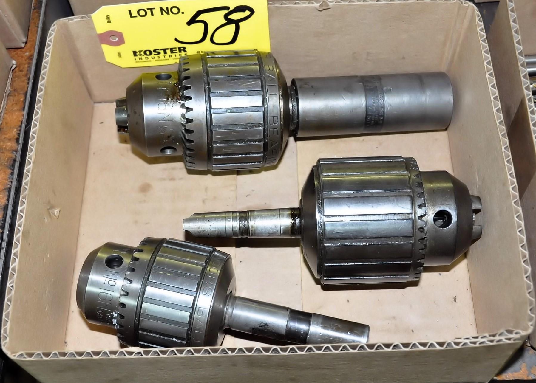 Lot 58 - (1) JACOBS NO. 16N, (1) NO. 18 AND (1) NO. 18N CHUCKS IN (1) BOX